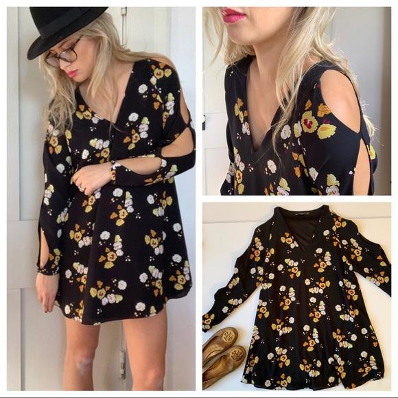 676872d4213 Floral Cut Out Sleeve Cold Shoulder Trafaluc Dress.  M 5c5259f804e33d616accef04